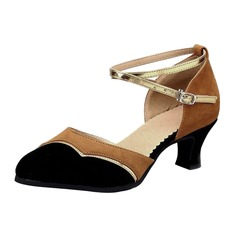 Women's Suede Heels Pumps Ballroom With Ankle Strap Dance Shoes