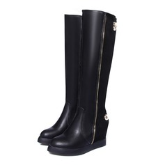 Women's Leatherette Wedge Heel Knee High Boots With Split Joint shoes