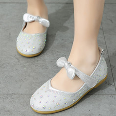 Girl Closed Toe Flats Leatherette Flats Flower Girl Shoes With Rhinestone