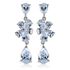 Sparking Zircon/Platinum Plated Earrings