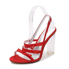 Women's Silk Like Satin Chunky Heel Peep Toe Pumps Sandals Slingbacks MaryJane With Buckle