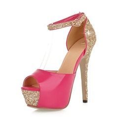 Leatherette Sparkling Glitter Stiletto Heel Sandals Platform Peep Toe With Buckle shoes
