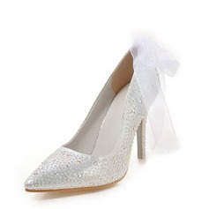 Women's Leatherette Stiletto Heel Closed Toe Pumps With Rhinestone Lace-up