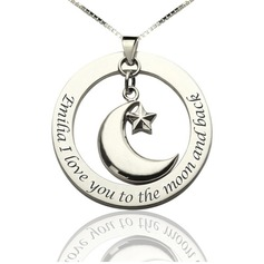 Personalized Ladies' Eternal Love 925 Sterling Silver With Round Engraved Necklaces Necklaces For Bride/For Bridesmaid/For Friends