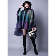 Color Block Oversized/Shawls Poncho (204090488)