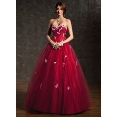 Ball-Gown Sweetheart Floor-Length Tulle Quinceanera Dress With Ruffle Beading Appliques Lace Sequins (021004666)