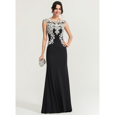 Sheath/Column Scoop Neck Floor-Length Jersey Evening Dress (017167682)