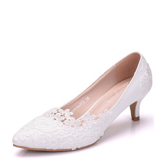 Vrouwen Kunstleer Low Heel Closed Toe Pumps met Stitching Lace