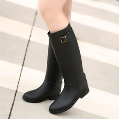 Women's PVC Low Heel Boots Knee High Boots Rain Boots With Buckle shoes