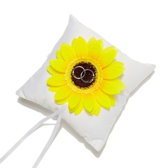 Sunflower Ring Pillow in Satin With Ribbons