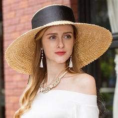 Ladies' Classic Raffia Straw Straw Hat/Kentucky Derby Hats