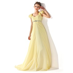 Empire V-neck Sweep Train Chiffon Prom Dresses With Ruffle Beading