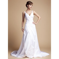 A-Line/Princess V-neck Court Train Satin Wedding Dress With Ruffle Beading Appliques Lace