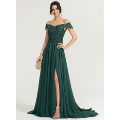 A-Line Off-the-Shoulder Sweep Train Chiffon Evening Dress With Sequins Split Front (017167700)