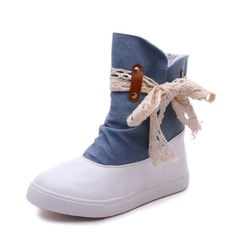 Women's PU Denim Flat Heel Flats Closed Toe Boots Mid-Calf Boots With Ribbon Tie shoes