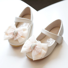 Girl's Round Toe Closed Toe Microfiber Leather Flat Heel Flats Flower Girl Shoes With Bowknot Velcro (207172991)