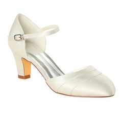 Women's Silk Like Satin Stiletto Heel Closed Toe Pumps (047096510)