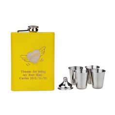 Personalized Flying Hearts Stainless Steel Flask