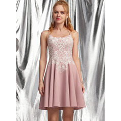 A-Line Square Neckline Short/Mini Stretch Crepe Homecoming Dress With Lace