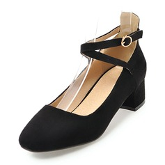 Women's Suede Low Heel Closed Toe With Buckle shoes (085171199)