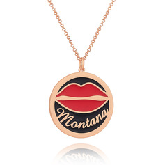 Custom 18k Rose Gold Plated 3D Engraved Necklace Circle Necklace With Red Lips - Birthday Gifts Mother's Day Gifts