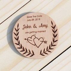 Personalized Double Hearts/Round Wooden Save-the-date Magnets