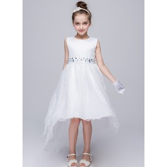 A-Line/Princess Court Train Flower Girl Dress - Tulle Sleeveless Scoop Neck With Sash/Rhinestone