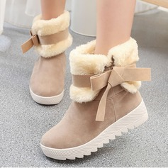 Women's Suede Wedge Heel Boots Mid-Calf Boots With Bowknot shoes
