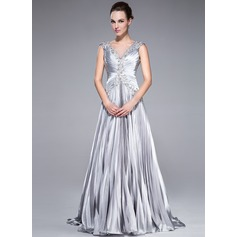 A-Line/Princess V-neck Sweep Train Charmeuse Prom Dresses With Beading Appliques Lace Sequins Pleated