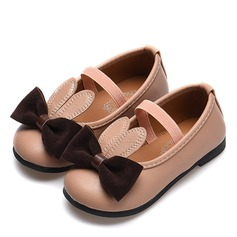 Girl's Round Toe Closed Toe Leatherette Flat Heel Flats With Bowknot Elastic Band