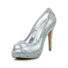 Women's Real Leather Stiletto Heel Peep Toe Sandals With Rhinestone