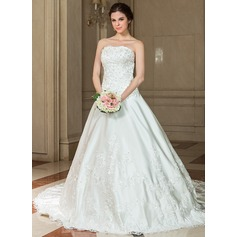 A-Line/Princess Sweetheart Chapel Train Satin Wedding Dress With Lace Beading Sequins