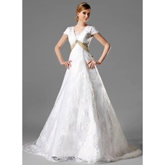 A-Line/Princess Square Neckline Chapel Train Lace Wedding Dress With Sash Crystal Brooch Bow(s)