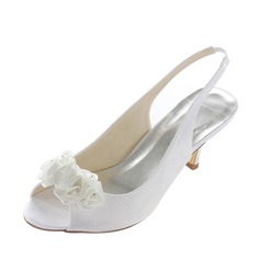 Women's Satin Low Heel Peep Toe Sandals Slingbacks With Flower