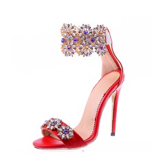 Women's Leatherette Stiletto Heel Sandals With Crystal Zipper shoes