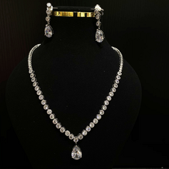 Ladies' Shining Copper/Zircon Jewelry Sets