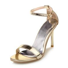 Frauen Lackleder Stöckel Absatz Sandalen Absatzschuhe mit Strass Schnalle Schuhe