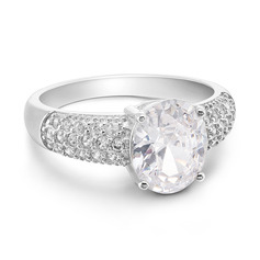 Sterling Silver Cubic Zirconia Halo Oval Cut Engagement Rings Promise Rings -