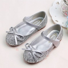 Girl's Sparkling Glitter Flat Heel Round Toe Flats With Bowknot