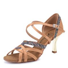Women's Satin Sparkling Glitter Heels Latin Dance Shoes