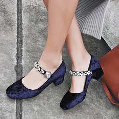 Women's Velvet Chunky Heel Pumps With Rhinestone shoes (085115166)