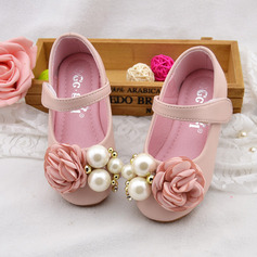 Girl's Round Toe Mary Jane Leatherette Flat Heel Flower Girl Shoes With Imitation Pearl Satin Flower Velcro