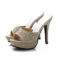 Women's Leatherette Sparkling Glitter Stiletto Heel Sandals Pumps With Crystal shoes