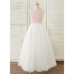 Ball-Gown/Princess Floor-length Flower Girl Dress - Chiffon/Tulle Sleeveless V-neck With Pleated