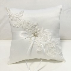 Square Ring Pillow in Cloth With Bow/Rhinestones/Lace