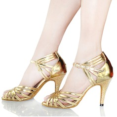 Women's Leatherette Heels Sandals Latin With Buckle Hollow-out Dance Shoes