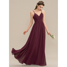 A-Line V-neck Floor-Length Chiffon Lace Prom Dresses With Ruffle