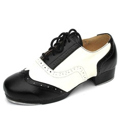 Women's Real Leather Heels Tap With Lace-up Dance Shoes