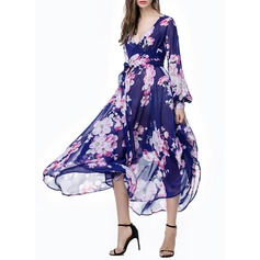 Chiffon With Print Midi Dress (199127625)