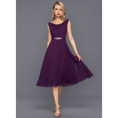A-Line/Princess Cowl Neck Knee-Length Chiffon Cocktail Dress With Beading Sequins (016140373)